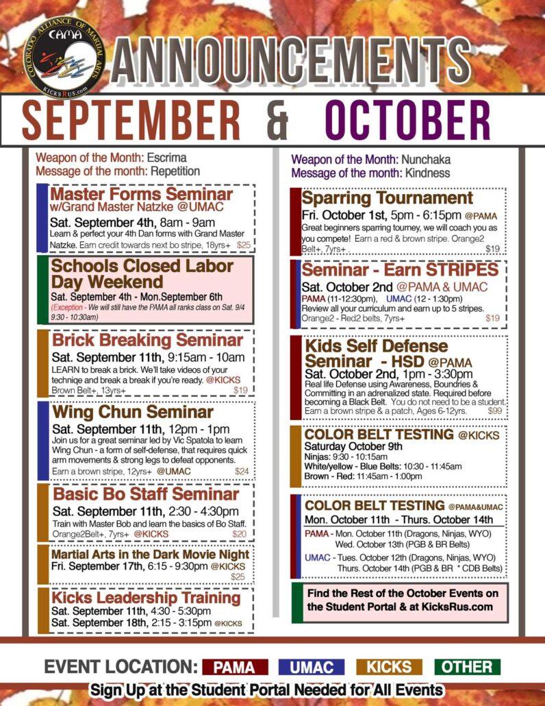 CAMA September Events