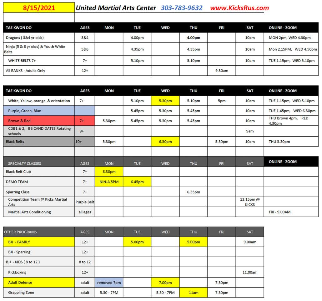 UMAC Schedule