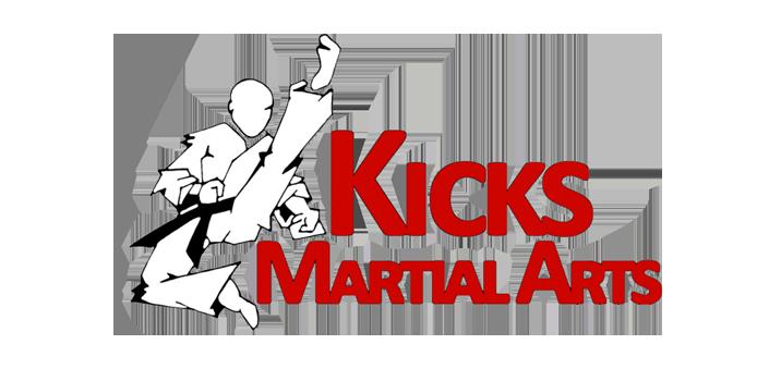 Kicks Martial Arts Red logo